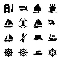 Set of 16 boat filled icons