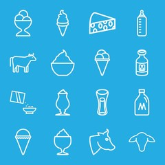 Set of 16 milk outline icons