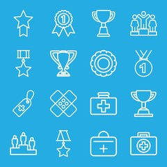 Set of 16 first outline icons
