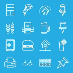 Set of 16 solid outline icons