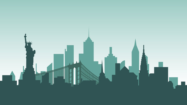 United States of America silhouette architecture buildings town city country travel