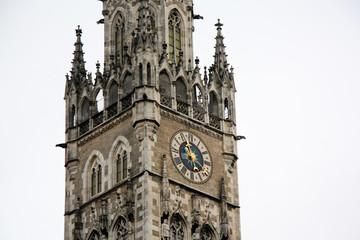Clock tower in center city munich