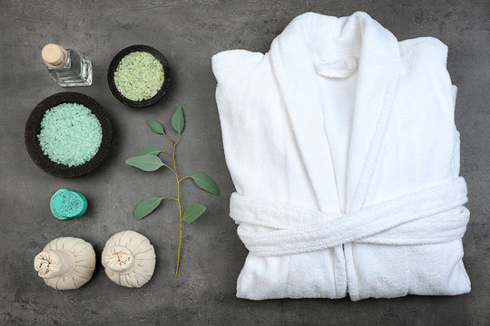 Beautiful spa composition with bathrobe and accessories