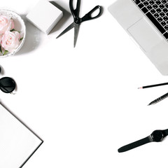 White office desk frame with laptop keyboard and supplies. Laptop, notebook, pen, roses, sunglasses, pencil, scissors, watch and office supplies on white background. Flat lay, top view, mockup, squre