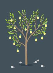 Lighting bulbs on tree - save energy - tree of ideas