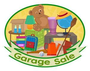 Garage Sale Clip-art - Cute clip art of different household items with garage sale text at the bottom. Eps10