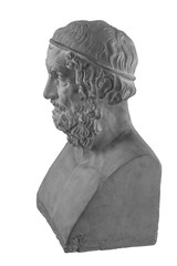 White plaster statue bust of the philosopher Homer