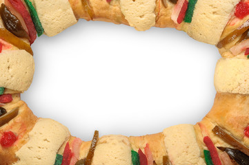 Rosca de reyes frame with white background