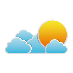 color sun with clouds icon, vector illustraction design image