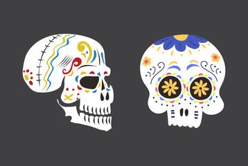 Style skull face dia de los muertos symbol vector illustration.