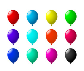 Сolored Air Balloons. 12 Variations set.