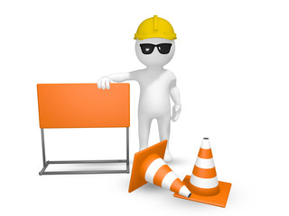 3D render of a construction worker with a signage and cones. Signage can be inserted with text