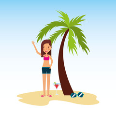 person on vacations holidays vector illustration design