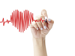 female's hand drawing a heart-shaped cardiograph with a pen