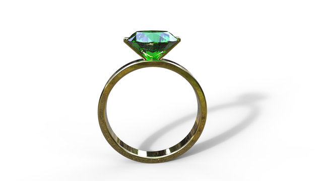3d illustration of  an emerald  ring