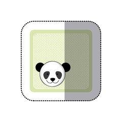 sticker colorful greeting card with picture panda animal vector illustration