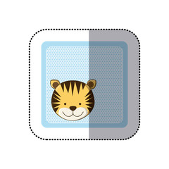sticker colorful greeting card with picture tiger animal vector illustration