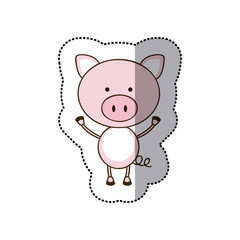 sticker colorful picture cute pig animal vector illustration