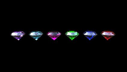 3d illustration of  different gem stones