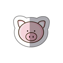 sticker colorful picture face cute pig animal vector illustration