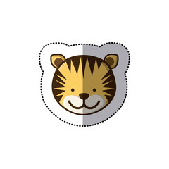 sticker colorful picture face cute tiger animal vector illustration