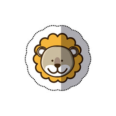 sticker colorful picture face cute lion animal vector illustration