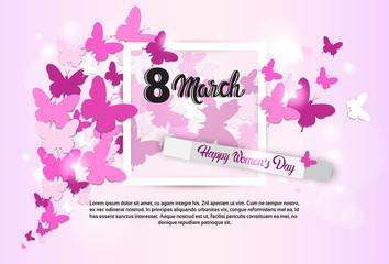 8 March International Women Day Greeting Card Flat Vector Illustration