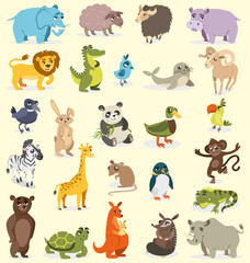 set of different animals. birds, mammals, reptiles. vector drawing