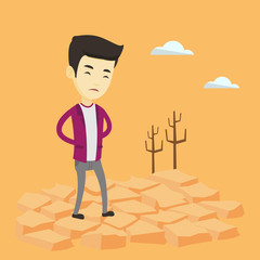 Sad man in the desert vector illustration.