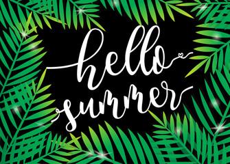 Hello Summer beach palm with dark background