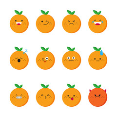 Orange modern flat emoticon set