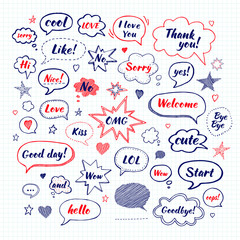Handwriting  set of speech bubbles with dialog words: Hi, Love, Sorry, Welcome, Bye. Hand drawn