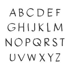 Vector handwritten alphabet. Uppercase letters. Brush script. Modern Brushed Lettering