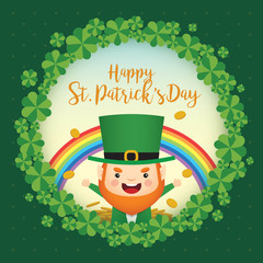 Happy St. Patrick's Day greeting card template. Cute Leprechaun with rainbow, gold coin and clovers wreath on green polka dot background. 17 march vector illustration.