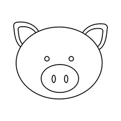 figure face pig icon, vector illustration design image