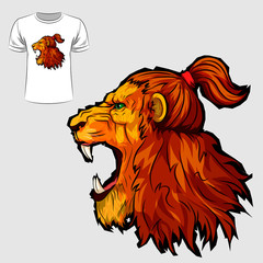 Abstract graphic design of roaring lion for t-shirt or banner print