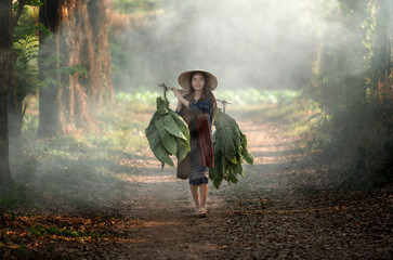 Girl with a tobacco farm in rural Asia.