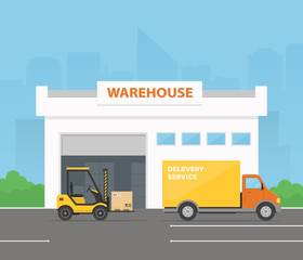 Forklift is loading cargo from warehouse to truck. Delivery service. Logistics center. Vector illustration in flat style.
