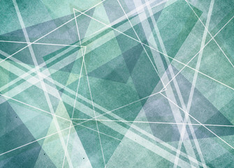 abstract blue green background with intersecting lines stripes and triangle layers with old faded texture and pastel color