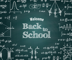 Vector physical Back to School green chalkboard background with different signs, figures, formulas and graphs of functions