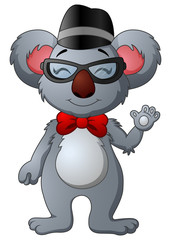 Cute hipster koala with glasses and hat