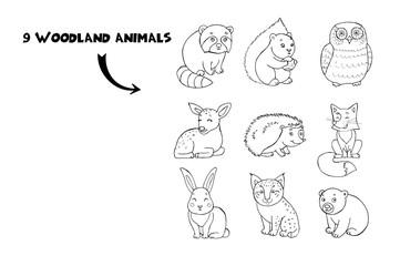 Doodle set of cute cartoon line animals with squirrel, fox, lynx, raccoon, hedgehog, bear, deer, owl and rabbit. Cute forest animal set.
