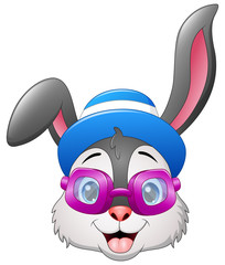 Hipster rabbits in purple sunglasses with a hat