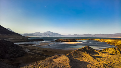 Panorama of Crater salt lake Assal, Djibouti