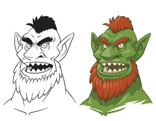 Vector cartoon image of a green goblin man's head with ginger hair, beard and sharp teeth and line image of a goblin man's head on a white background. Color and line image. Vector illustration.