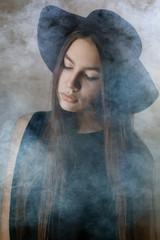 hipster girl in hat, studio