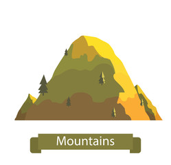 "Vector cartoon image of big yellow mountain with six firtrees on a white background. Nature, climbing, background. Vector illustration. Banner with inscription ""Mountains""."