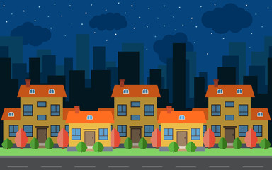 Vector night city with five cartoon houses and buildings. City space with road on flat style background concept. Summer urban landscape. Street view with cityscape on a background