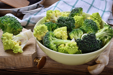 Roman cabbage and sicilian broccoli
