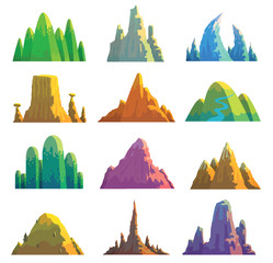 Vector set of twelve cartoon images of various mountains of different colors and shapes on a white background. Nature, climbing, background. Vector illustration.